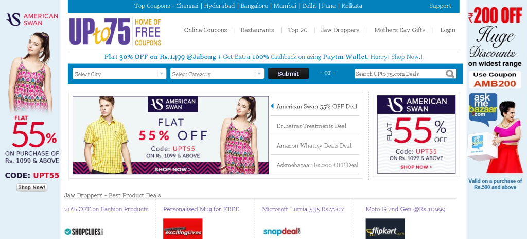 Discount Coupons, Coupon Promo Codes, Offers, Sales, Deals in India - UPto75