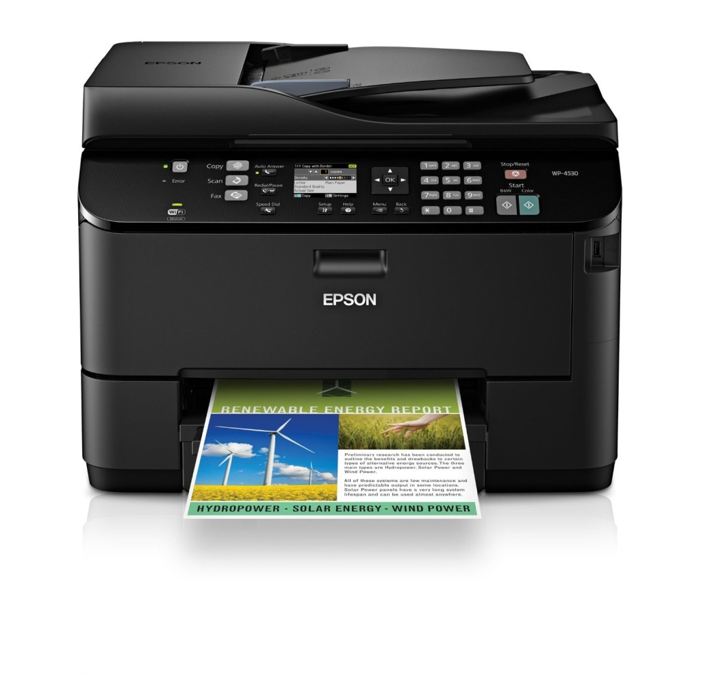 Epson WorkForce Pro WP-4530 Wireless All-in-One Color Inkjet Printer, Copier, Scanner, Fax, iOSTabletSmartphoneAirPrint Compatible C11CB33201