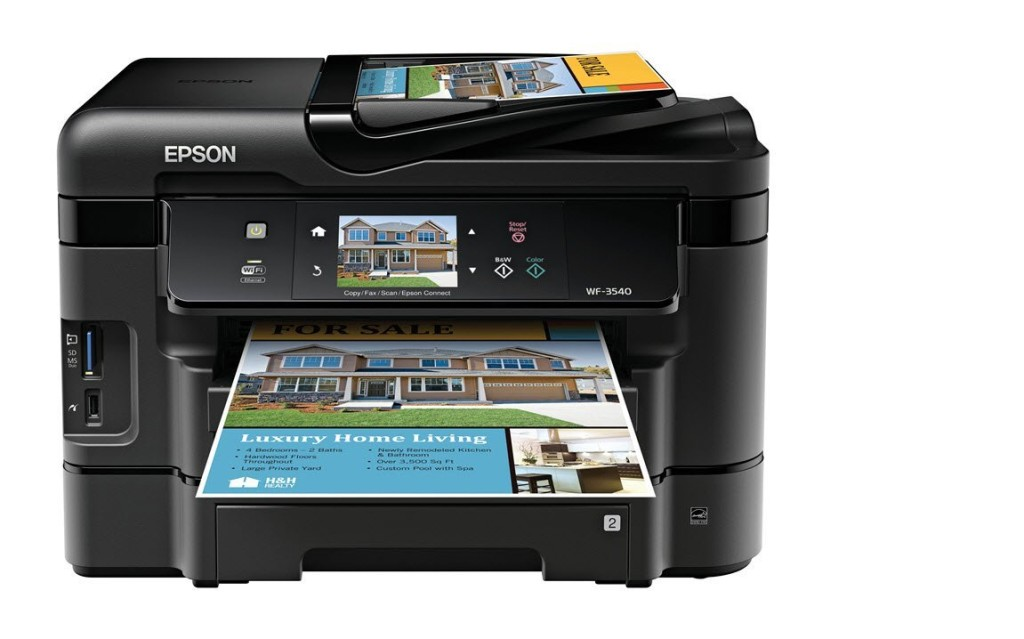 Epson WorkForce WF-3540 Wireless All-in-One Color Inkjet Printer, Copier, Scanner, 2-Sided Duplex, ADF, Fax. Prints from Tablet Smartphone AirPrint Compatible C11CC31201