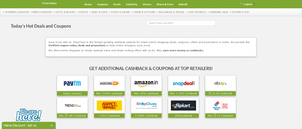 Freeclues - Coupon, Coupon Codes, Discount deals, Cashback