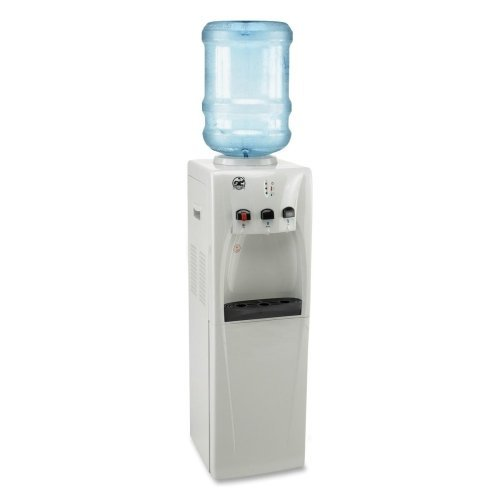 Genuine Joe GJO22550 Stainless Steel Water Cooler with Chiller Compartment, 5 Gallon Capacity, 12-19 64 Length 13-12 Width 39 Height, White