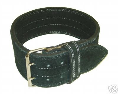 Leather Power Weight Lifting Belt- 4 Black (XX Large)