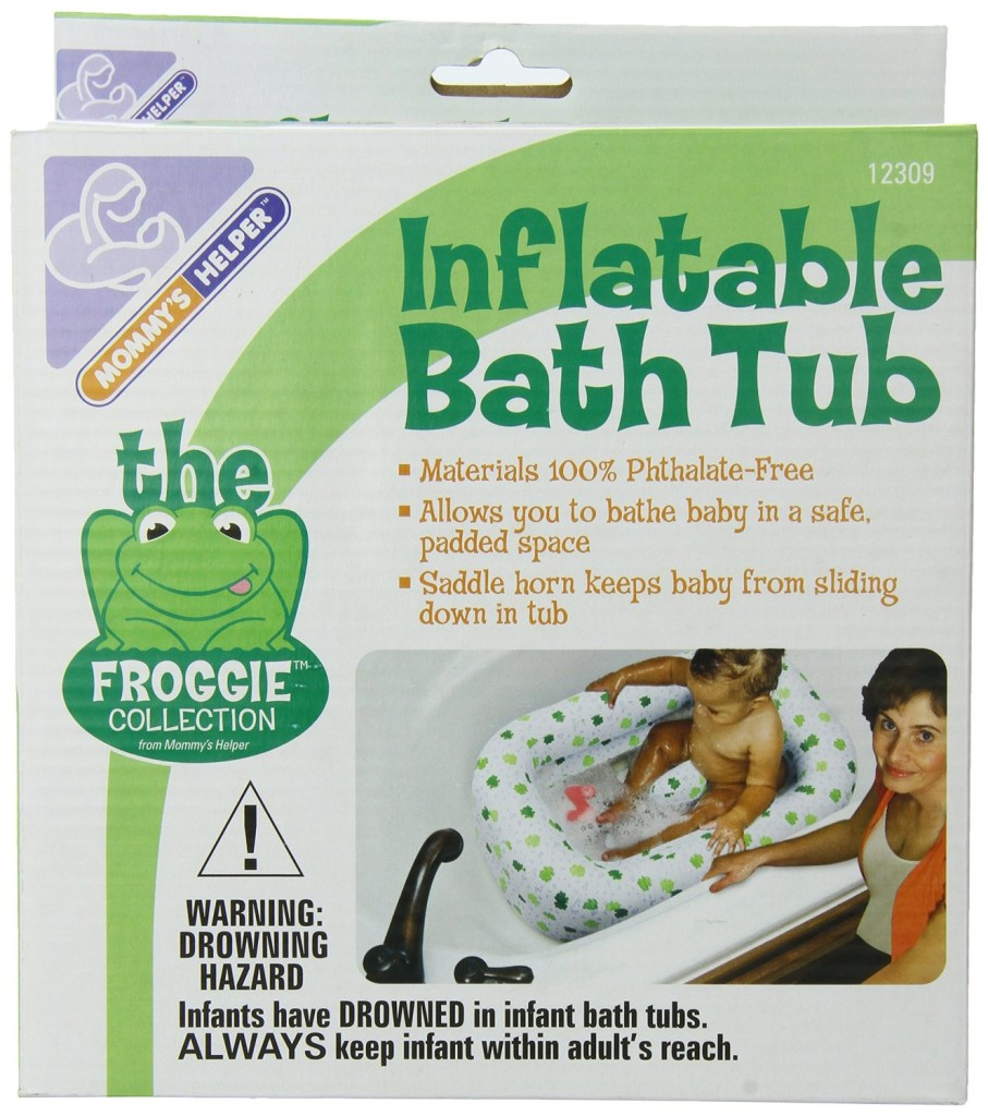 Mommy's Helper Inflatable Bath Tub Froggie Collection, White Green, 6-18 Months