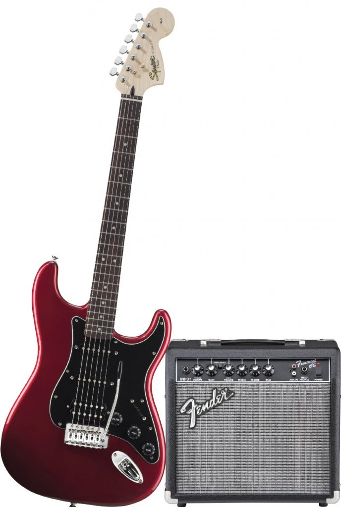 Squier by Fender Strat HSS Electric Guitar Pack w Frontman 15G
