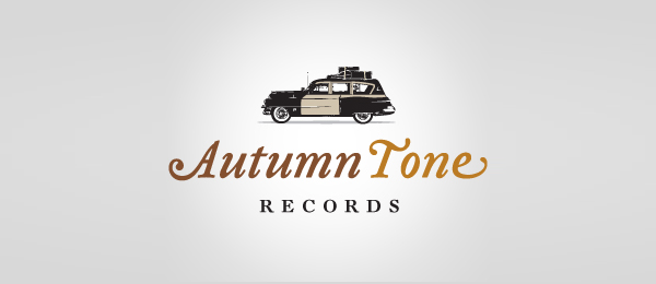 car logo design autumn tone records 7