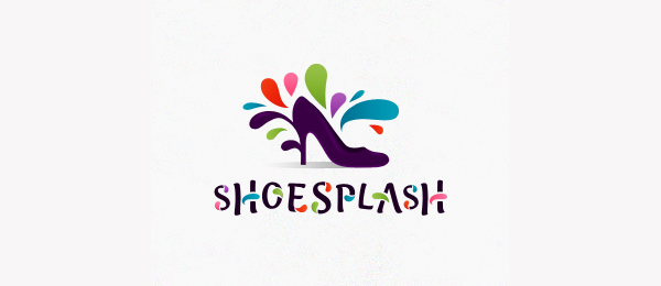 design purple high heeled shoes logo splash