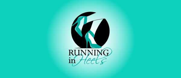 design running in heels logo design