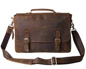 Kattee's Vintage Briefcase, Genuine Cow- hide Leather