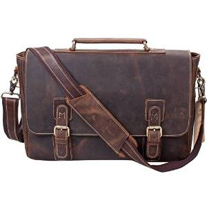 S-ZONE's Crazy-Horse for Men Briefcase Shoulder Laptop Ba