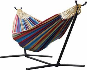 Vivere's Double Hammock UHSDO9 with Steel Stand