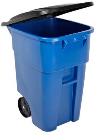 Rubbermaid's FG9W2700BLUE Rollout Trash Can with Lid