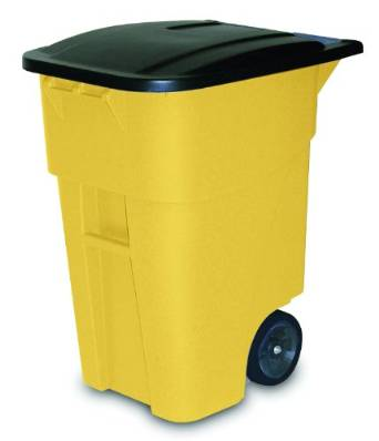 Rubbermaid's FG9W2700YEL Rollout Trash Can with Lid