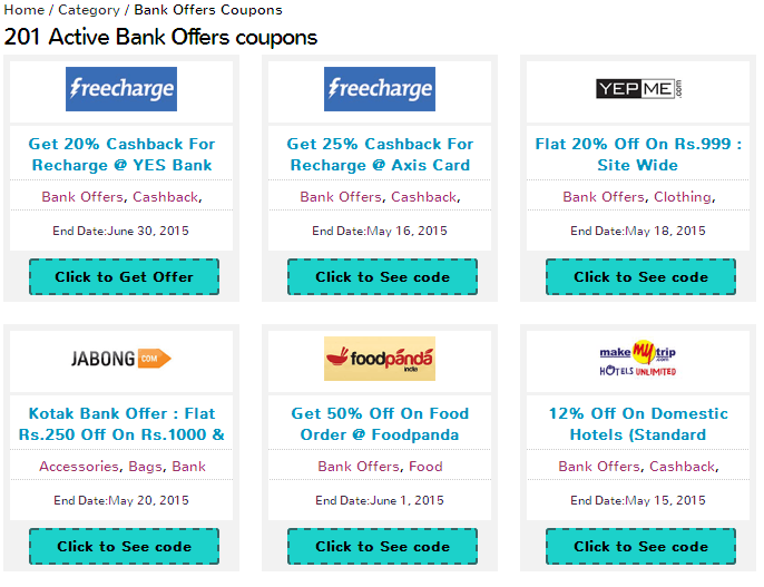 Bank Offers discount coupons By Maddycoupons