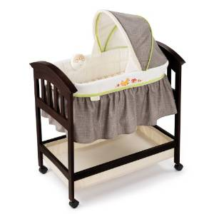 Summer Classic Infant Comfort Espresso Stain Fox and Friends, Wood Bassinet