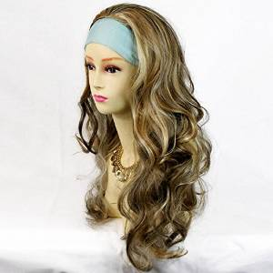 Curly Dark Brown and Strawberry Blonde Half Wig