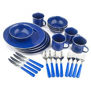Stansport Enamel 24-Piece Tableware Set