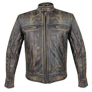 Xelement XS-1550- Mens Venture Armored Leather Motorcycle Jacket