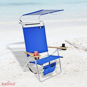 Deluxe 4 Position Aluminum Beach Chair with Storage Pouch and Canopy