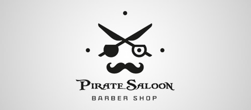 pirate saloon scissors logo designs