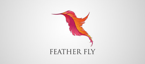 feather fly logo design