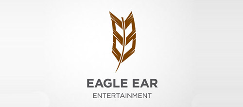 record label logo design feather
