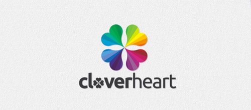 clover heart logo designs