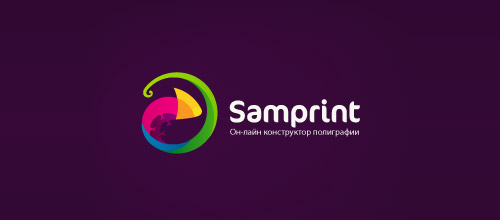 samprint chameleon logo design