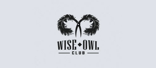 wise owl club logo feather