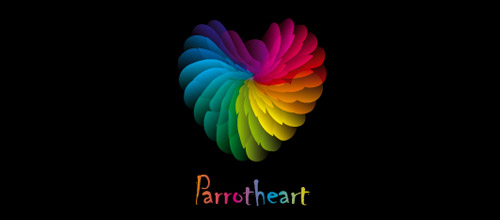 feather heart logo design