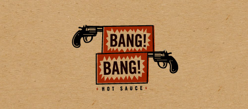 bang hot sauce gun logo design