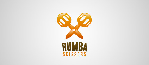 rumba scissors logo design