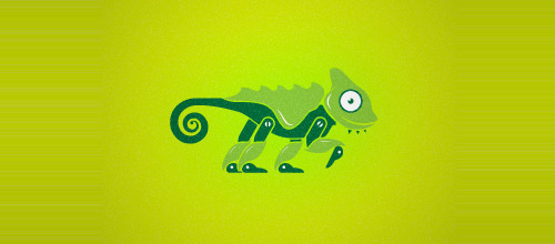 techy chameleon logo design