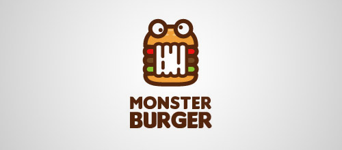 monster burger logo design