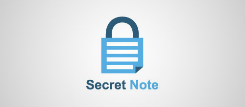 secret note padlock logo design