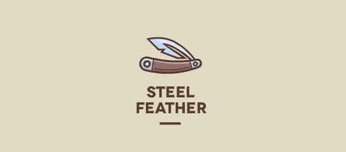 steel feather logo design