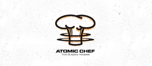 atomic chef hat logo designs