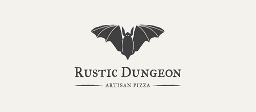 pizza logo design bats