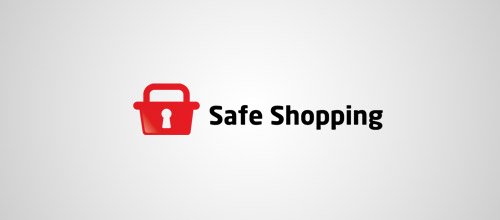 safe shopping lock logo designs