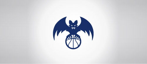 bat basketball logo design