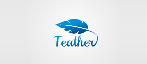 blue feather logo design