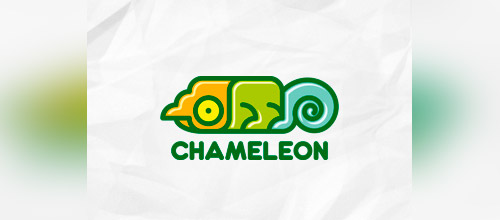 chameleon cute logo design