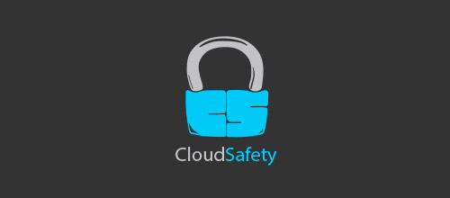 cloud safety lock logo designs