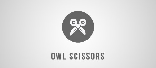 owl scissors logo designs