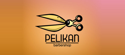 pelican barbershop scissors logo designs