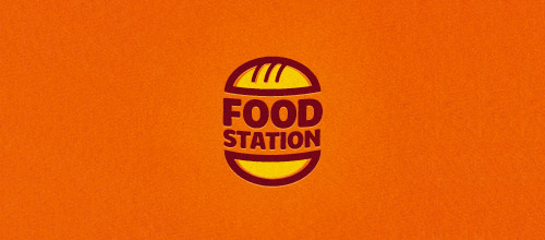 food station burger logo design
