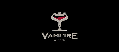 wine bat logo design
