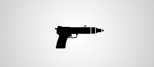 action designer logo design gun