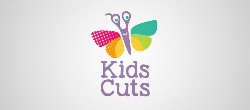 kids cuts scissors logo designs