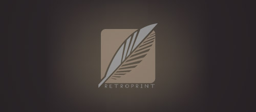 retroprint logo design feather