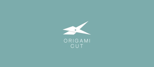 origami cut scissors logo designs